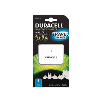 Duracell Dual USB Wall Charger 2.4A &1A Oplader - Wit