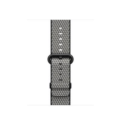 Apple : Bandje van geweven nylon - Zwart (geruit, 38 mm) - Zwart, Grijs