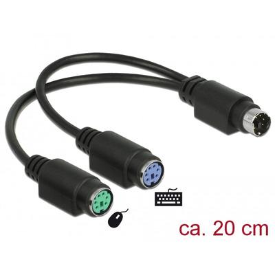 DeLOCK Splitter cable PS/2 1 x male > 2 x female 20 cm PS2 kabel - Zwart