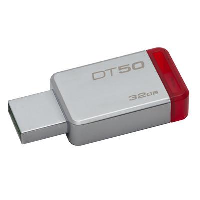 Kingston technology USB flash drive: DataTraveler 50 32GB - Rood, Zilver