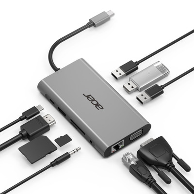 Acer 10-In-1 USB Type-C Dongle Hub - Zilver