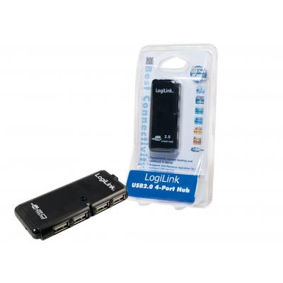 LogiLink 4-Port USB 2.0 Hub - Zwart