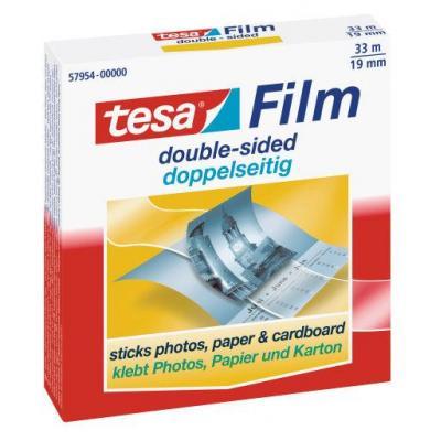 Tesa plakband: 33 m / 19 mm, 1 rol, kartonnen hangdoosje - Transparant