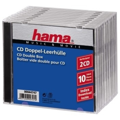 Hama CD Double Jewel Case Standard, Pack 10 - Transparant