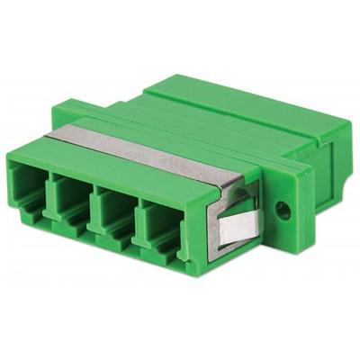Intellinet LC/APC Adapter, Single Mode 4 Cores, Zirconia Sleeve, Green Fiber optic adapter - Groen