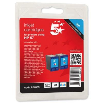 5star inktcartridge: Replacment for HP 57, Tri-Colour, C9503AE, 2 pcs - Cyaan, Magenta, Geel