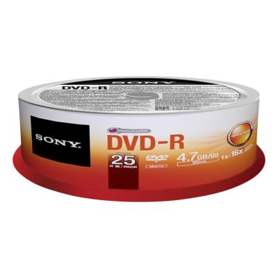 Sony DVD: DVD-R 16x recordable storage, 25-pack