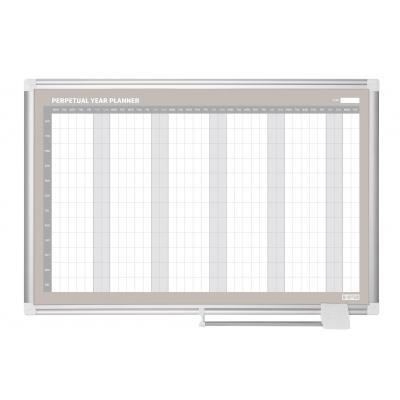 Bi-office planningsysteem: 900 x 600 mm, Steel - Grijs, Wit