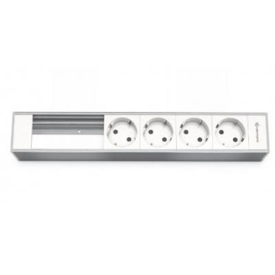 Kindermann Module Panel for 6 Plates, 4 x mains Inbouweenheid - Aluminium, Wit