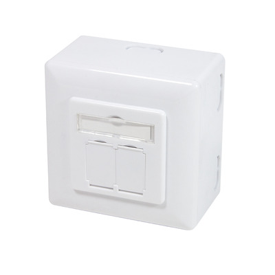 Logilink wandcontactdoos: Cat.6A Wall Outlet UP+AP 2x RJ45 STP, Signal White - Wit