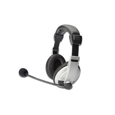 Ednet 3.5mm jack, 50Hz-3kHz, 90dB, 1.8m, 90g Headset - Zwart,Wit