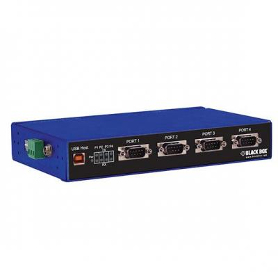 Black Box Industrial Isolated Converter - USB 2.0 to 4-Port RS-232, RS-422, RS-485, 1.5/12/480Mbps, 4x DB9, .....