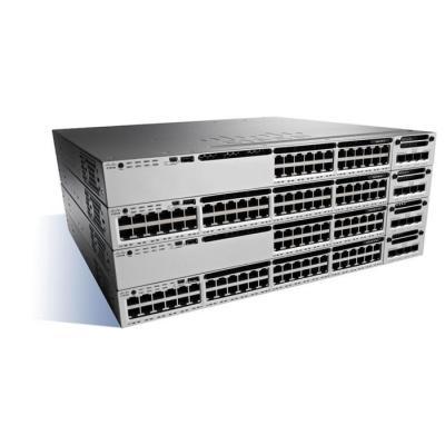 Cisco Catalyst 3850, Stackable, 12 Port, SFP+, 350W, 1 RU, IP Services feature set Switch - Zwart, Grijs