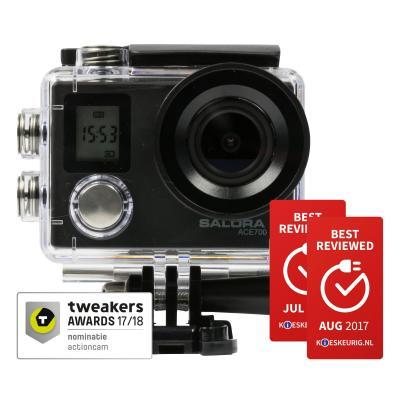 Salora actiesport camera: Een stoere 4K ActionCam met dubbel display en WiFi - Zwart