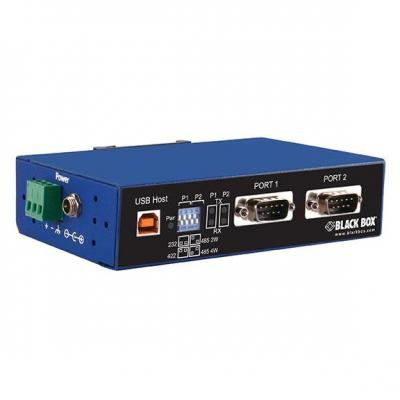 Black Box Industrial Isolated Converter - USB 2.0 to 2-Port RS-232, RS-422, RS-485, 1.5/12/480Mbps, 2x DB9, .....