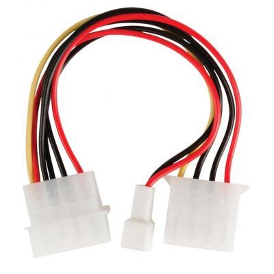 Valueline : Internal power adapter cable Molex male - Molex female + 3-pin fan power 0.15 m multicolour - Zwart, Rood, .....