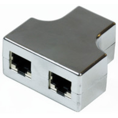 Microconnect netwerk splitter: RJ45-2xRJ45 F-F - Zwart, Zilver