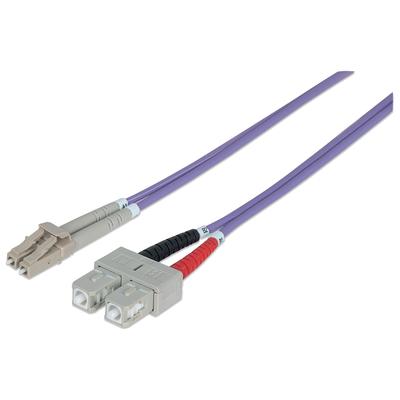 Intellinet Fibre Optic Patch Cable, Duplex, Multimode, LC/SC, 50/125 µm, OM4, 1m, LSZH, Violet Fiber optic .....