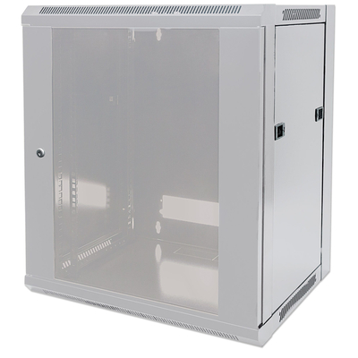 """Intellinet 19"""" Wallmount Cabinet, 15U, 770 (h) x 570 (w) x 450 (d) mm, Max 60kg, Flatpack, Grey Rack - Grijs"""