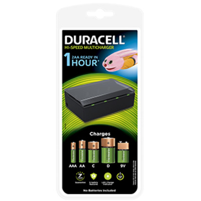 Duracell High Speed Multi Charger for AA, AAA, C, D and 9V batteries Oplader - Zwart