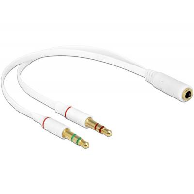 Delock : Headset Adapter 1 x 3.5 mm 4 pin Stereo jack female > 2 x 3.5 mm 3 pin Stereo jack male (iPhone) - Wit