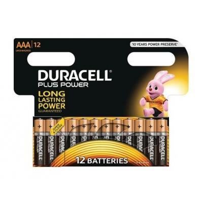 Duracell batterij: Alkaline, AAA, 1.5v, 12st - Zwart, Oranje