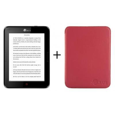 Icarus e-book reader: Bundel van de Illumina E654BK e-reader met rode beschermhoes C020RD - Zwart