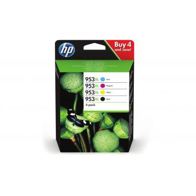 Hp inktcartridge: 953XL 4-pack High Yield Black/Cyan/Magenta/Yellow Original Ink Cartridges - Zwart, Cyaan, Magenta, .....