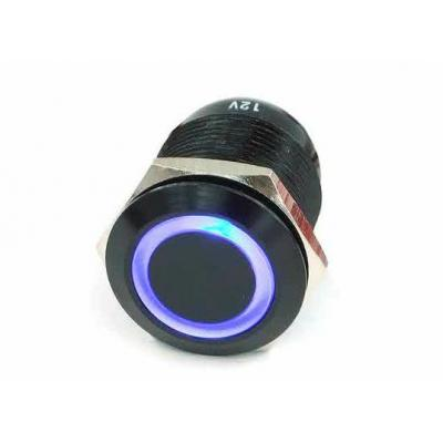 Phobya Computerkast onderdeel: Push-button 19 mm Alu black, Blue Lighting, With Screw-On Contacts - Zwart