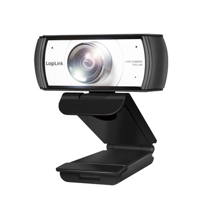 LogiLink Full HD, 30 fps, f/2.4, 120°, USB, 1.6 m, 86 x 72 x 53 mm, 150 g Webcam - Zwart, zilver