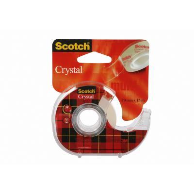 3M Scotch Crystal Clear Tape - Navulbare Dispenser - 19 mm x 15 m Tape afroller - Zwart, Rood