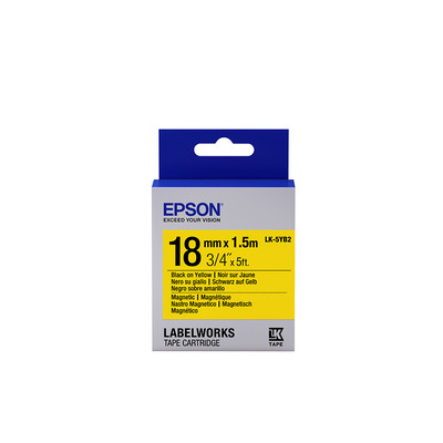 Epson Label Cartridge Magnetic LK-5YB2, zwart/geel 18 mm (1,5 m) Labelprinter tape