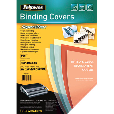 Fellowes binding cover: Transparante PVC dekbladen - 200 micron A3