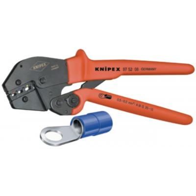 Knipex tang: Krimptangen ook te bedienen met twee handen, 0.5 - 6 mm2, AWG 20 - 10 - Zwart, Rood