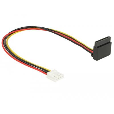 DeLOCK Cable Power Floppy 4 pin female > SATA 15 pin female metal 30 cm - Zwart,Rood,Geel