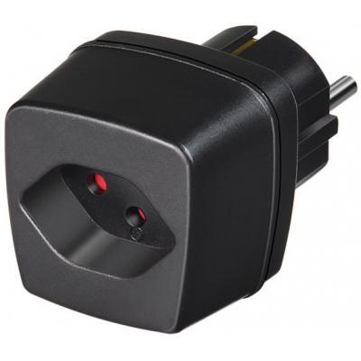 Brennenstuhl netvoeding: Travel Adapter CH/earthed Socket, 10 A/230 V - Zwart