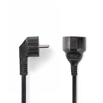 Nedis Schuko M/Schuko F, 3x 1.5mm², Ø6.5mm, PVC, 3m Electriciteitssnoer - Zwart