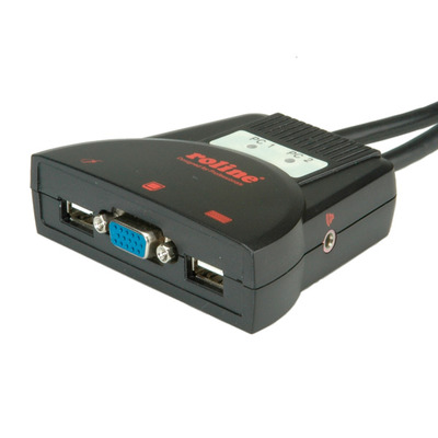 ROLINE 'Star' 1u -2 PCs, USB, audio KVM switch - Zwart
