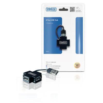 Sweex hub: 4 Port USB Hub - Zwart