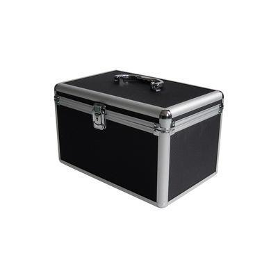 Mediarange mediadoos: Media storage case for 120 discs, aluminum look, with hanging sleeves, black - Aluminium, Zwart