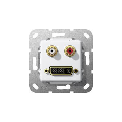 GIRA Basiselement cinch audio en DVI (24+5) Verloopkabel, zuiver wit glanzend Wandcontactdoos