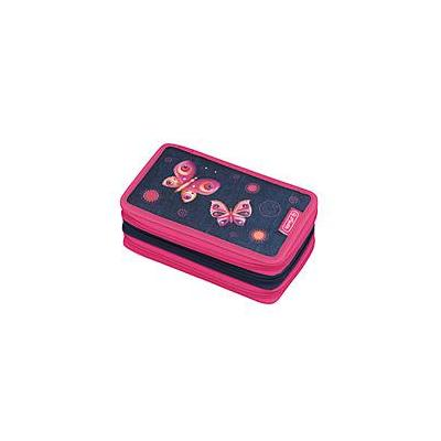 Herlitz potlood case: Triple Butterfly Dream - Blauw, Magenta