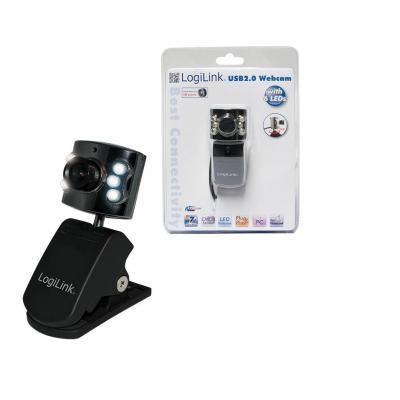 Logilink webcam: Webcam USB + LED - Zwart