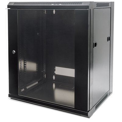 "Intellinet 19"" Wallmount Cabinet, 12U, 635 (h) x 570 (w) x 600 (d) mm, Max 60kg, Flatpack, Black Rack - Zwart"