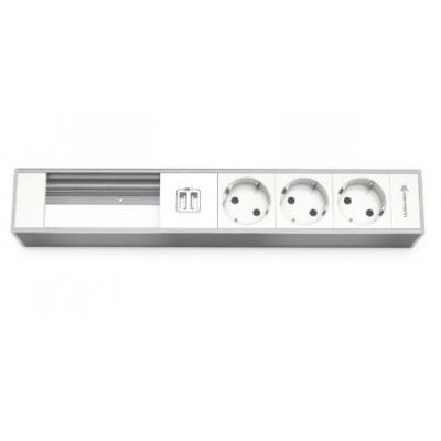 Kindermann Module Panel for 6 p., 3 x mains, 2x USB Inbouweenheid - Aluminium, Wit