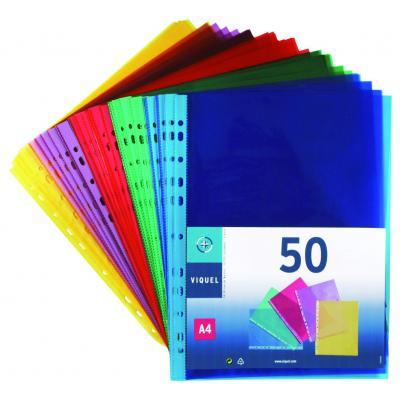 Viquel A4 coloured punched pocket, PP 50 microns smooth quality, Reinforced strip, 50 pcs Showtas - Multi kleuren