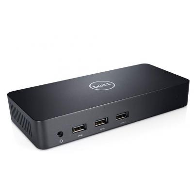 Dell docking station: D3100 USB 3.0 Ultra HD Triple Video Dock - Zwart
