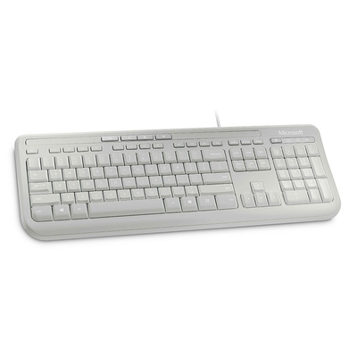 Microsoft toetsenbord: Wired Keyboard 600 - Wit, Alphanumeric