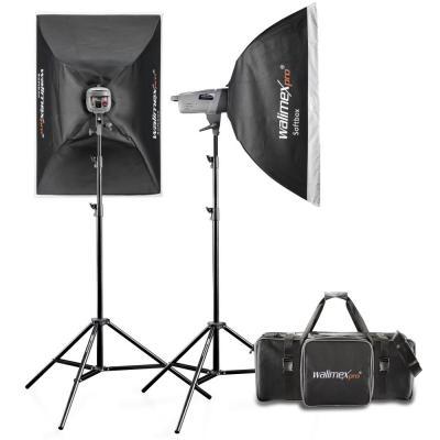 Walimex photo studio equipment set: Studio Flitsset VE 200/200, 16 kanaals afstandsbediening trigger, 2 softboxen .....