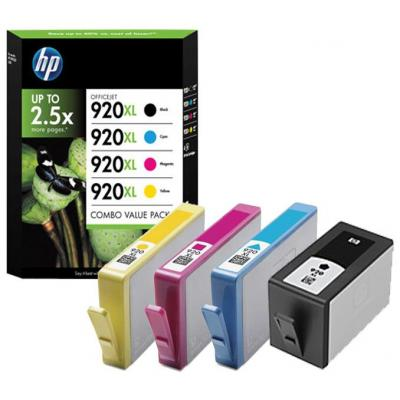 Hp inktcartridge: 920XL originele high-capacity zwarte/cyaan/magenta/gele inktcartridges, 4-pack - Zwart, Cyaan, .....